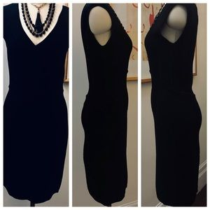 Diane Von Furstenberg Black Knit Dress Low V-neck
